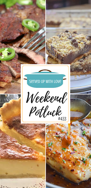 Weekend Potluck featured recipes include Sweetened Condensed Milk Chocolate Chip Bars, Honey Garlic Pork Chops, Tres Leches Filipino Egg Pie, Honky-Tonk Tequila Lime Steak, and so much more.