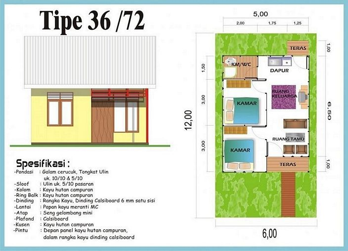 denah rumah minimalis type 36 yang unik
