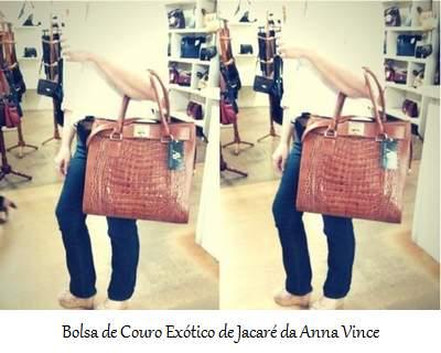 Bolsa em Couro Exótico da Anna Vince (Jacaré)