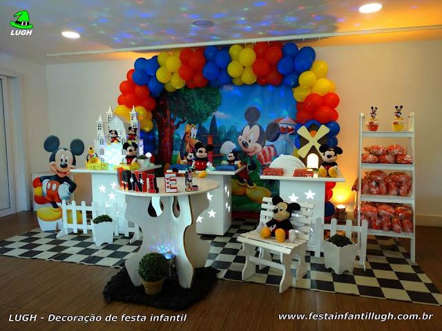 Decoração infantil Mickey (Mouse) para festa de aniversário infantil - Provençal simples