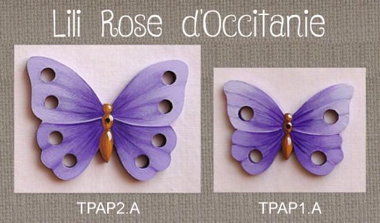 """2 tri-fils bois peint """"Papillon violet"""", pour 4 ou 8 échevettes. Broderie et point de croix"""