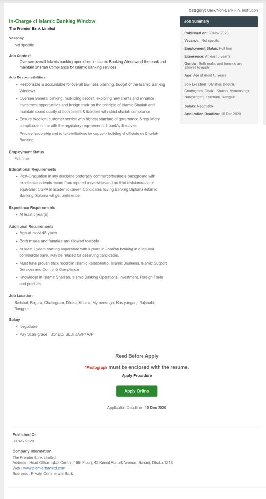 Premier Bank Ltd Job circular