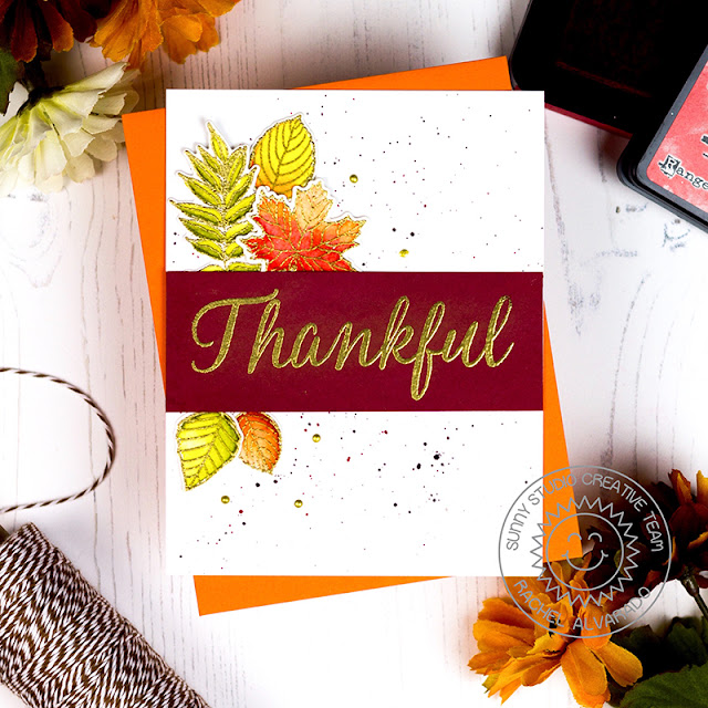Sunny Studio Stamps: Elegant Leaves Thankful Card by Rachel Alvarado