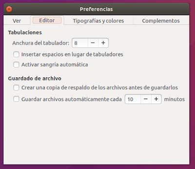 gedit Preferencias Editor