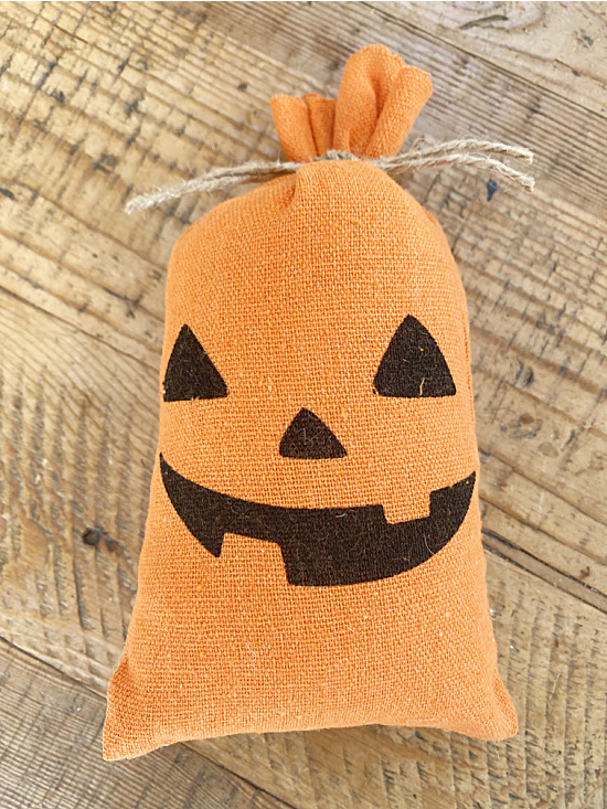 pumpkin treat bag with stuffing