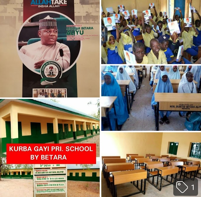 My School Programmes, By Hon Muktar Betara Aliyu.When I joined politics in 2007, I don't know the  level of the decay of our critical infrastructure, until I embarked on a camp aign tour of the nooks and crannies of the constituency. In all the places that I went to, during that historic outing, people were  chatting of no water, no good schools, and no health care delivery system, so persistent that it can't be ignored. Since that time I took it upon myself, to pay special attention to bring life back to all these  important sectors, this is how far I have gone in the education sector, even though, there is  still much to be done,  this is why I'm not relenting at this juncture in providing basics for the benefit of the constituents, as dividend of democracy, for the time that I will remain in the house, it is my intention to send to you in sequence, the remaining projects that are not part of my school program. I wish all of you happy inauguration  day, I'm  always counting  on your support, and your words of encouragement.Thank you all.