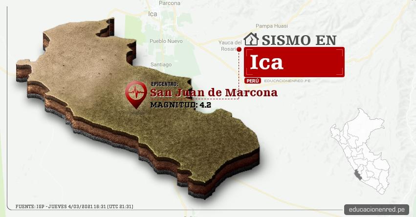Temblor en Ica de Magnitud 4.2 (Hoy Jueves 4 Marzo 2021) Sismo - Epicentro - San Juan de Marcona - Nazca - IGP - www.igp.gob.pe