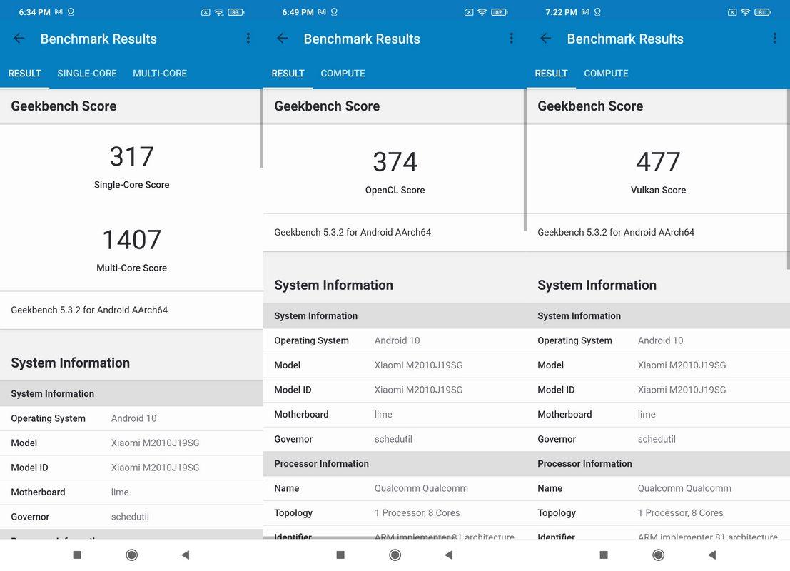 Benchmark Geekbench 5 Xiaomi Redmi 9T
