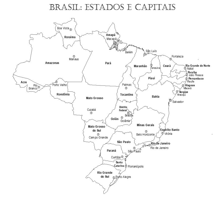 mapa do brasil com estados e capitais Blog de Geografia: Mapa do Brasil Estados e Capitais para  mapa do brasil com estados e capitais