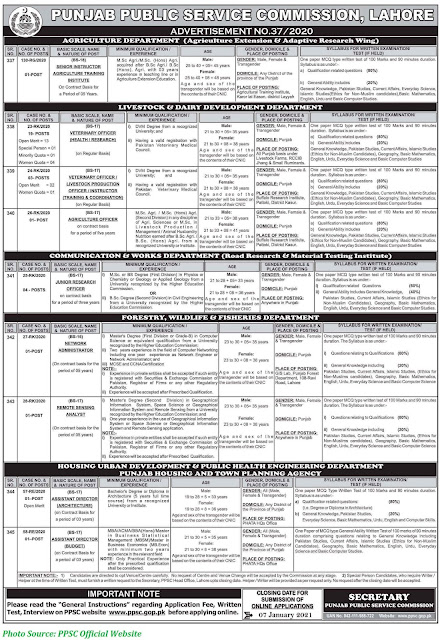 PPSC-Jobs-2021-Latest-Punjab-Public-Service-Commission-Jobs-January-2021-Latest-Advertisement 37-2020