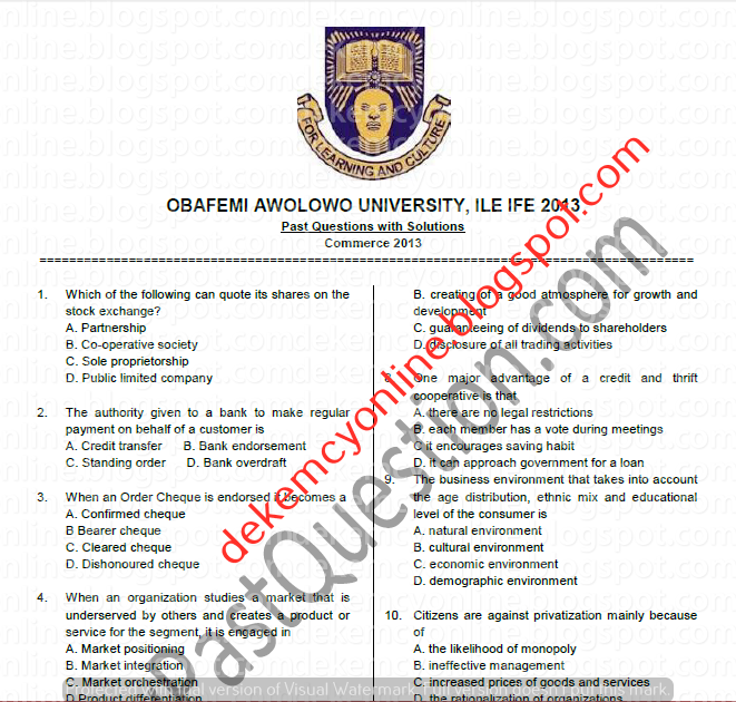 Oau Post Utme Past Questions And Answers Pdf