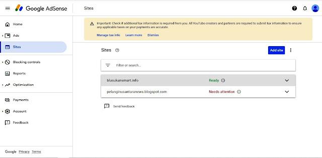 Tampilan dari Google Adsense bahwa Blog sudah bisa menampilkan Iklan (bisa Dimonetisasi) dengan status Ready