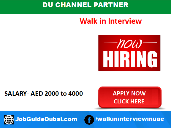 DU Channel Partner career for Sales Coordinator and Telesales Executive jobs in Dubai UAE