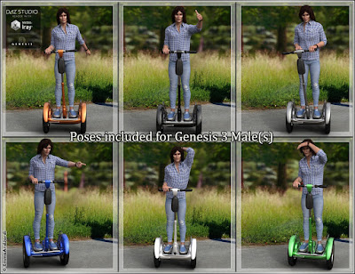 EJ Personal Transporter and Poses for Genesis 3 Female and Male