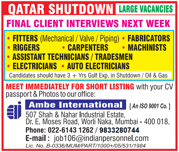 Qatar Shutdown Project Vacancies