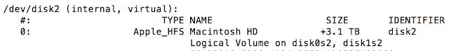 MacOS Ausschnitt Diskutil im Terminal. Die Pfade und Bezeichnungen werden angegeben.