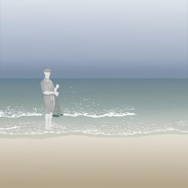 dibujo, playa, pescador, Rll