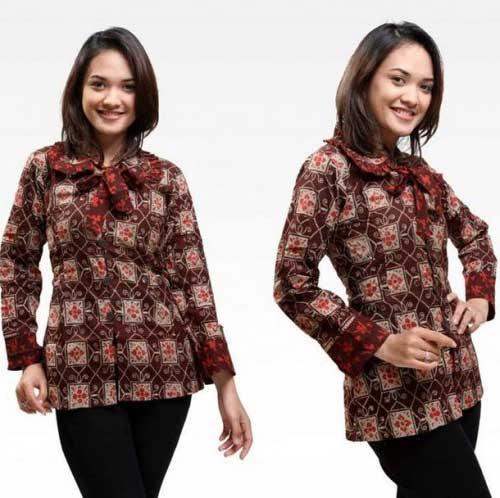 Baju Batik Lengan Panjang Vector: 4 Model Baju Batik Perempuan Lengan Panjang No Tua