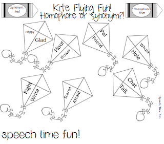 Speechie Freebies: Kite Flying Fun! Synonym or Homophone?