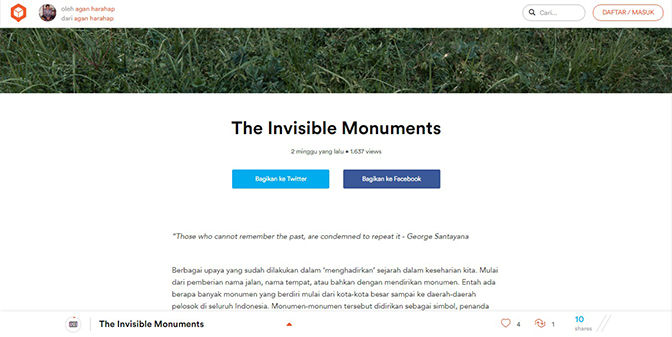 The Invisible Monuments by Agan Harahap on Qubicle.id