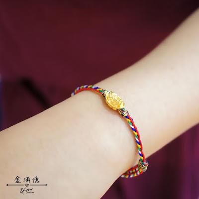 招財金飾-貔貅元寶-五色線黃金手鍊