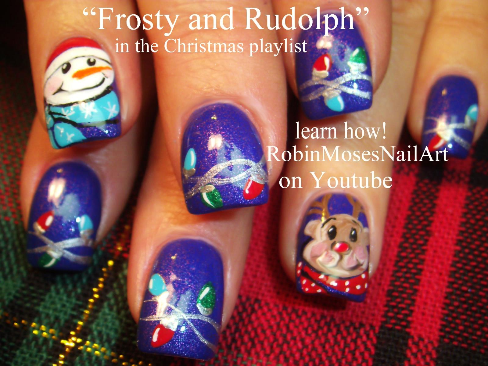 Nail Art by Robin Moses: Christmas Lights at Night Nail art ...