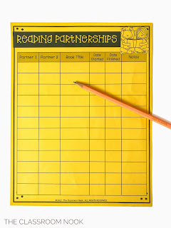 keep track of reading partnerships with a teacher tracking sheet