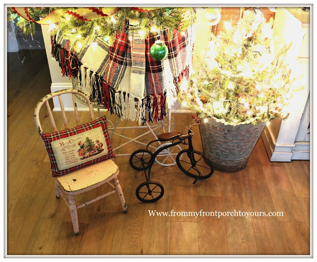 Vintage Inspired Farmhouse Christmas Tree-Vintage Toy-Vintage Doll Chair- From My Front Porch To Yours