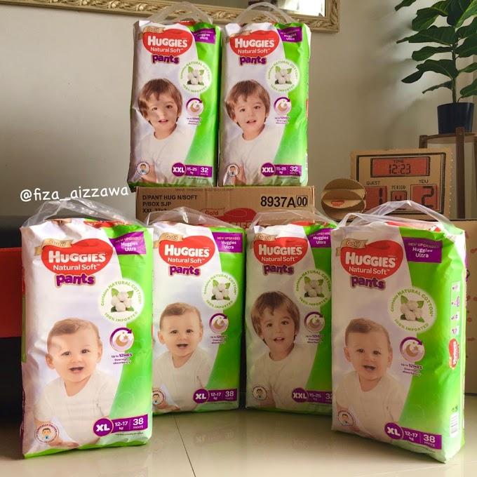 Rezeki anak terima 2 kotak Huggies Ultra Natural Soft Pants Playbox Super Jumbo Pack
