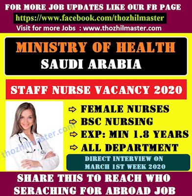 MINISTRY OF HEALTH SAUDI ARABIA STAFF NURSE VACANCY 2020