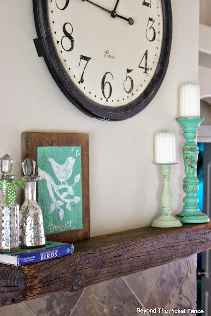 a simple spring sign and mantel