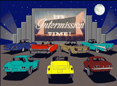 It's Intermission time at the drive-in