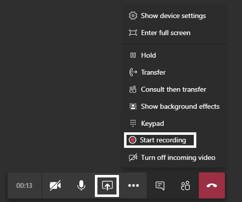 Teams call recording and screen sharing
