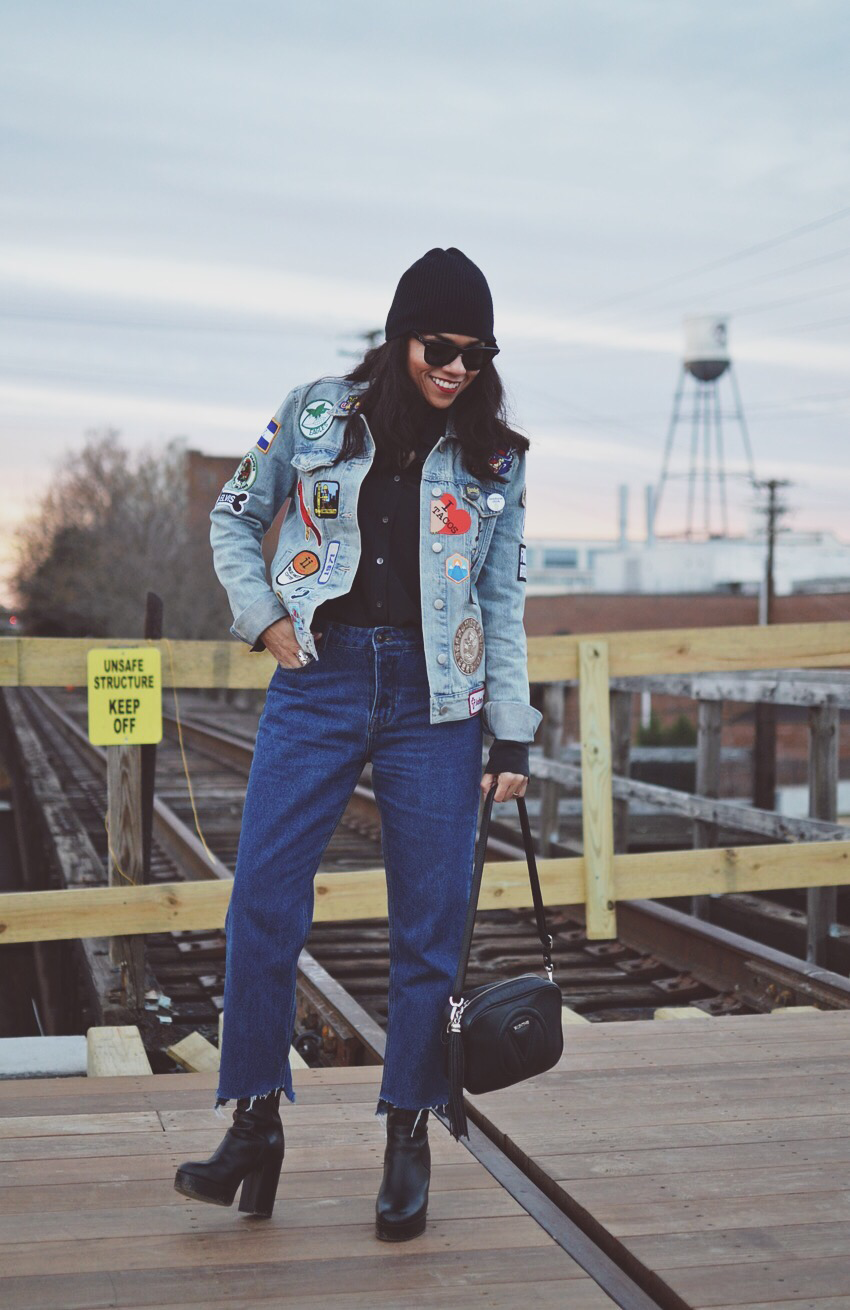 Jacket with patches street style