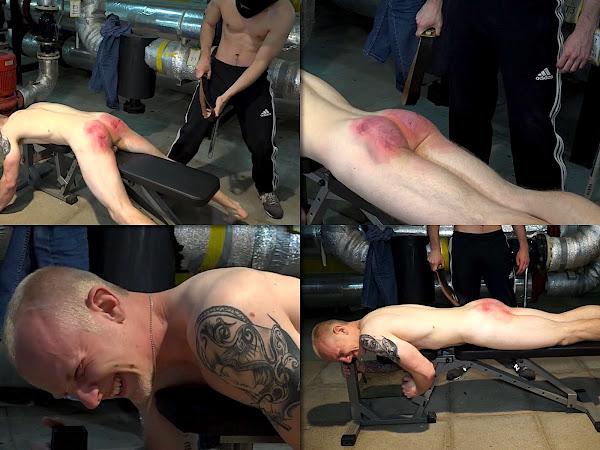 #RusStraightGuys  - Crazy belt hardest spanking for Dimon 22 y.o.