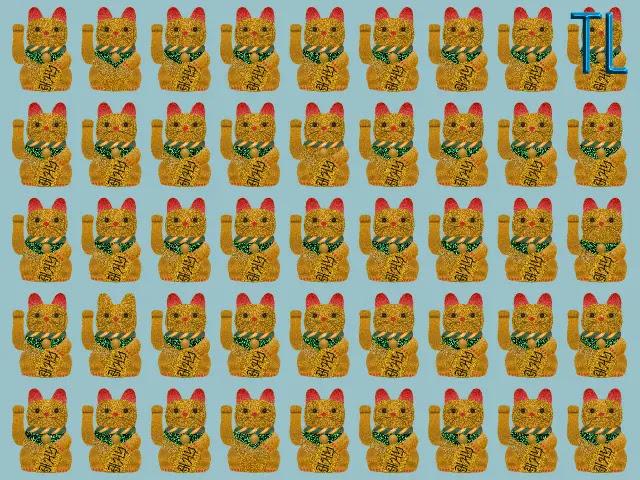 Encuentra los 5 gatos de la suerte diferentes
