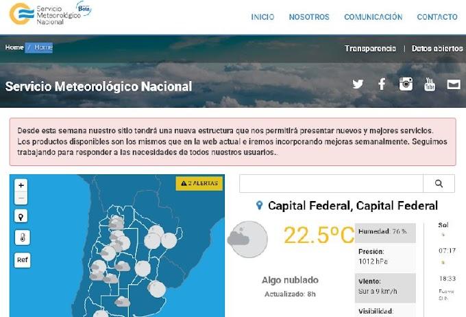 Cambios en la página del Servicio Meteorológico Nacional