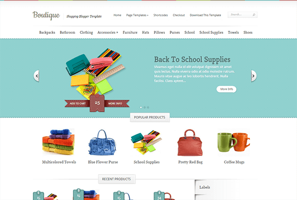 Boutique Responsive eCommerce Blogger Template