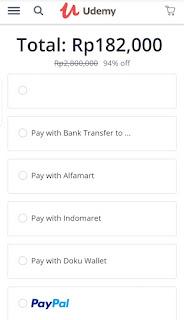 metode pembayaran udemy di browser