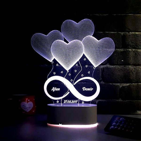 Sonsuz Aşk 3D Led Gece Lambası