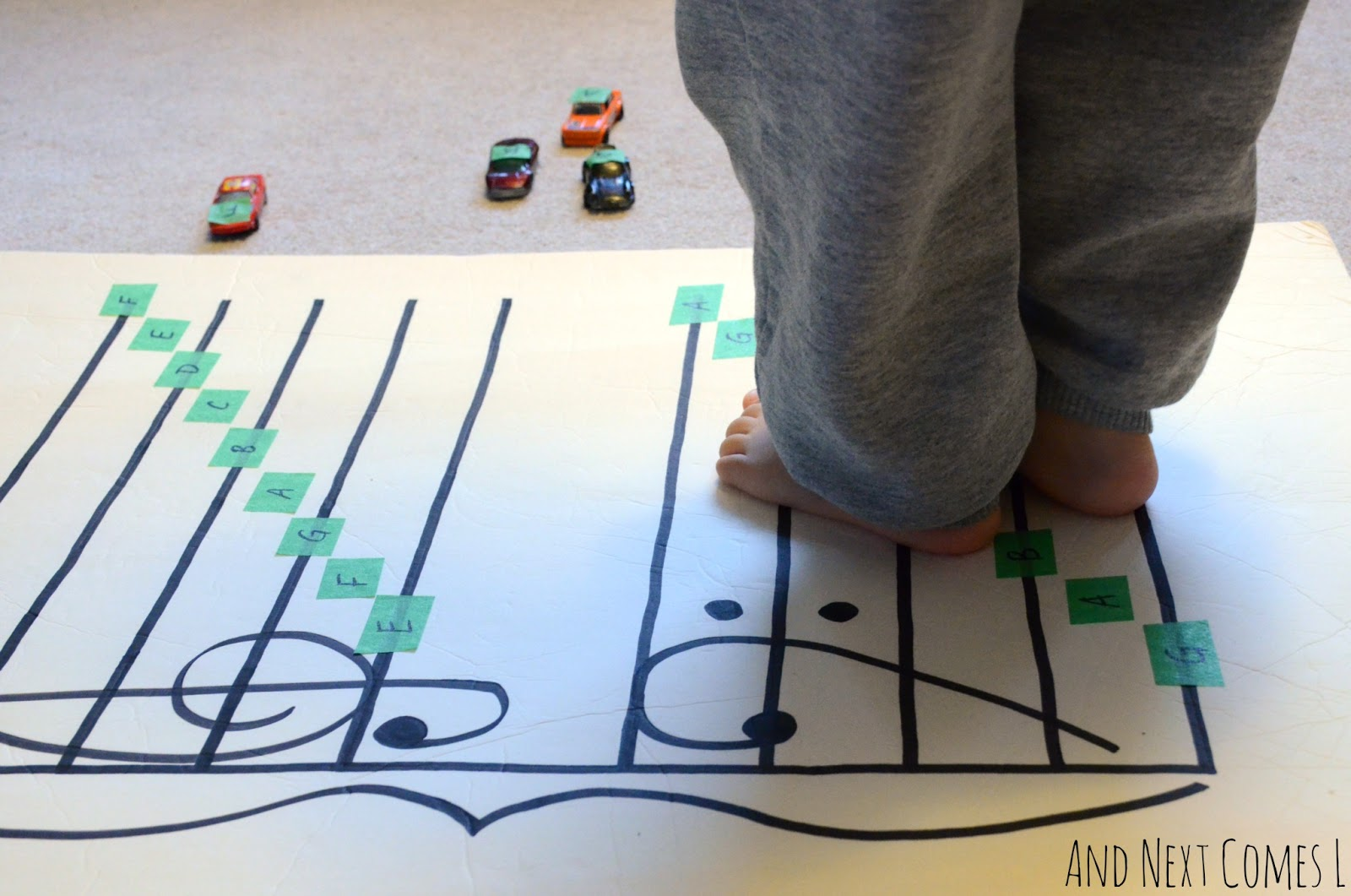Toddler friendly music theory game from And Next Comes L