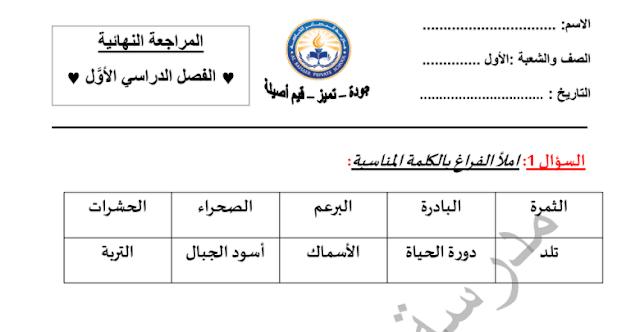 مراجعة نهائية لامتحان الفصل الأول في مادة العلوم للصف الأول