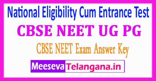 CBSE NEET National Eligibility Cum Entrance Test Central Board of Secondary Education NEET PG UG Answer Key 2018