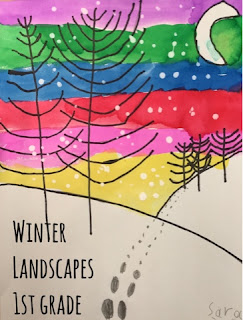 Elementary student's drawing of a winter landscape