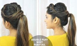 Glam Puff With Ponytail Hairstyle / Messy Double Puff(Side Puff & Back Puff) With Ponytail