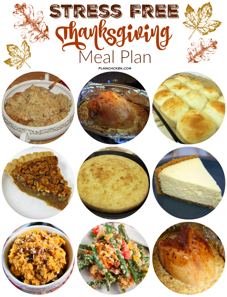 Stress Free Thanksgiving Meal Plan -use a combination of make ahead recipes, slow cooker recipes and throw in a few store bought favorites for a stress free holiday meal! We tell you what to cook on what day to ensure your holiday is relaxing and stress free!