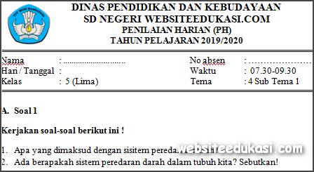 Soal PH / UH Kelas 5 Tema 4 Kurikulum 2013 Terbaru