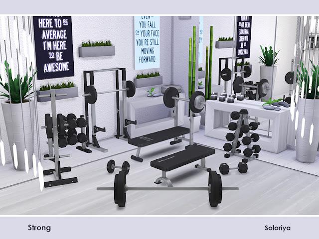 штанги для Sims 4, стойки для штанги для Sims 4, гимнастические скамьи для Sims 4, стойки для оборудования для Sims 4, гантели для Sims 4,