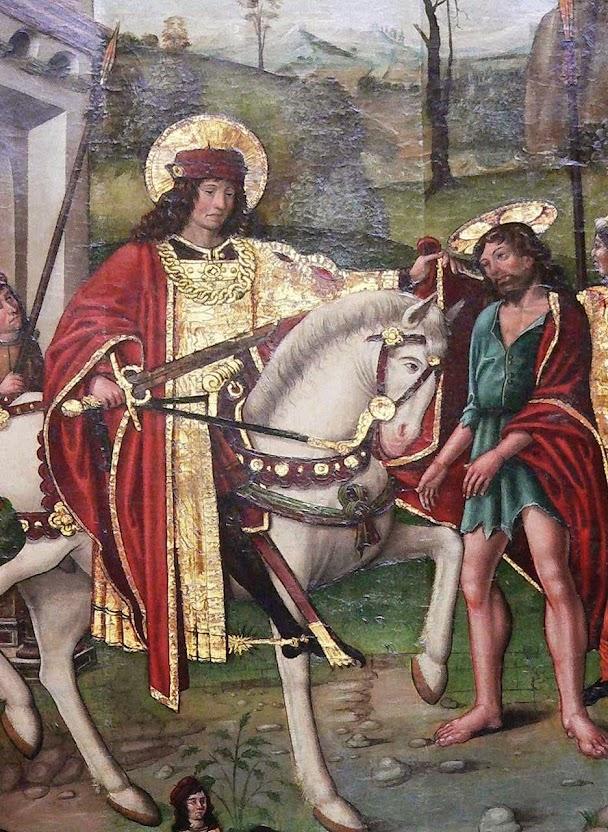 São Martinho de Tours divide sua capa com o pobre que resultaria ser Jesus Cristo. Museu de Cluny. Paris