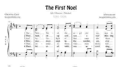 The First Noel Partitura de CORO SATB a 4 voces Letra en inglés La Primera Navidad Villancico